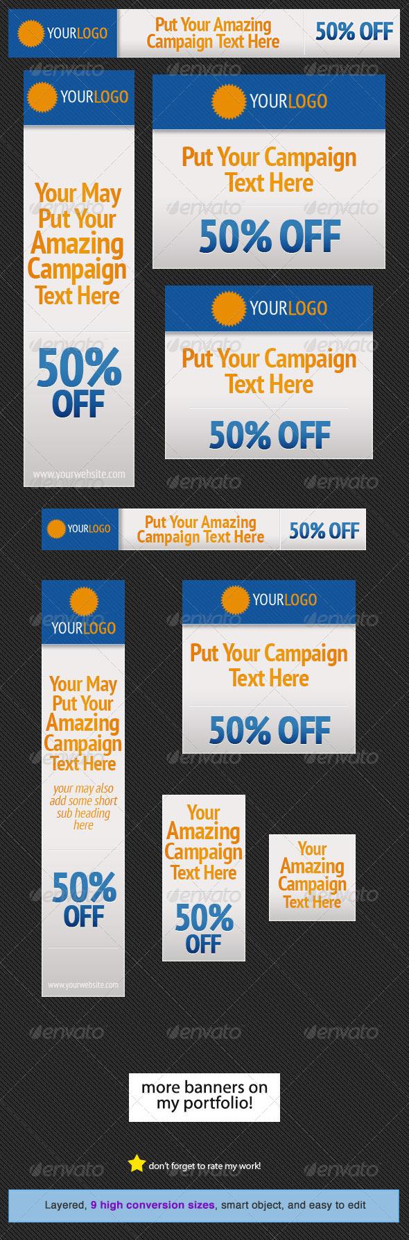 Orange Blue Web Banner Design Template - Banners & Ads Web Elements