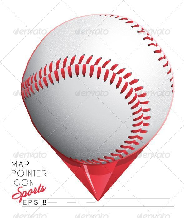 Colorful Baseball Sports Map Pointer Icon - Sports/Activity Conceptual