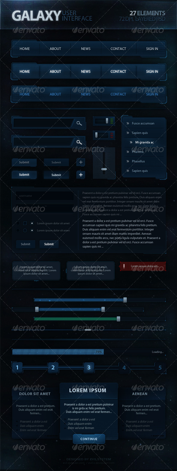 Galaxy User Interface - User Interfaces Web Elements