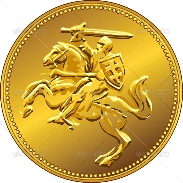 Gold Money Coin with Knight - Business Conceptual