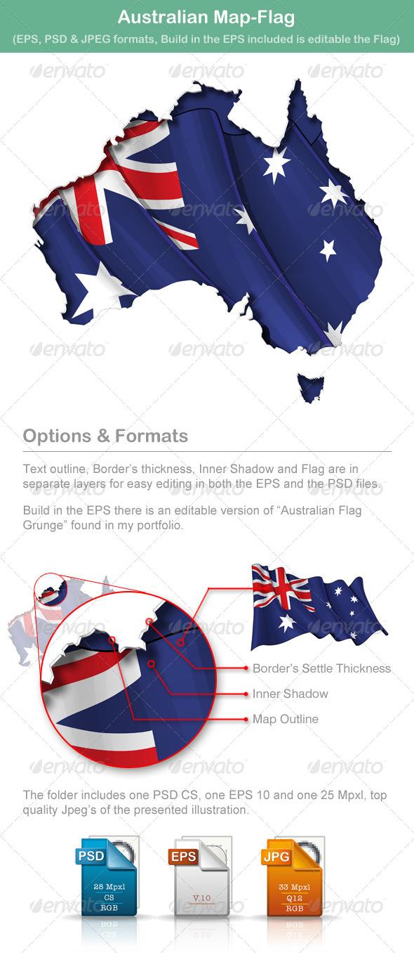 Australian Map-Flag - Travel Conceptual