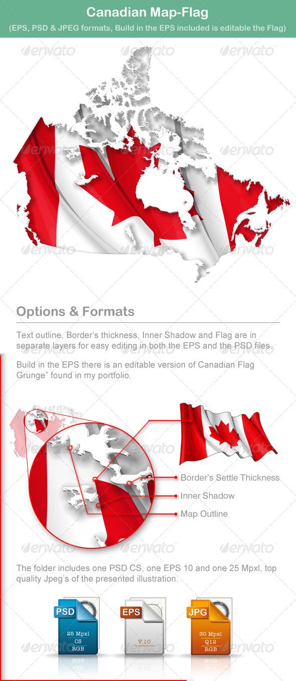 Canadian Map Flag - Travel Conceptual