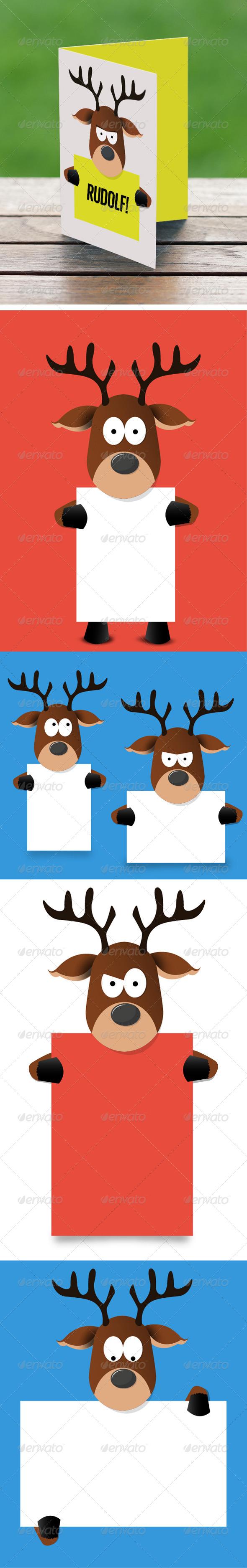 Cartoon Reindeer Holding Paper - Characters Vectors