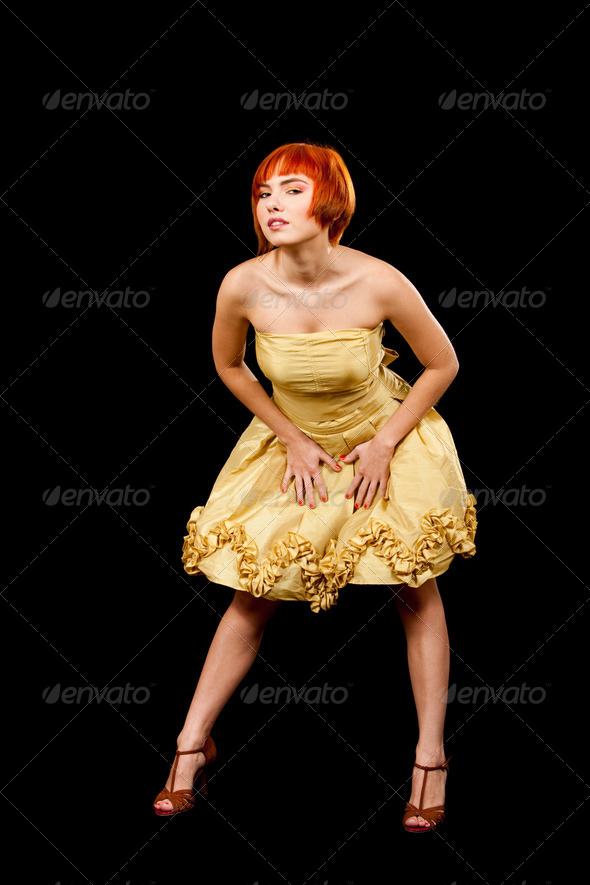Redhead in yellow dress - Stock Photo - Images