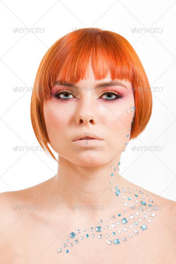 Redhead with rhinestones - Stock Photo - Images