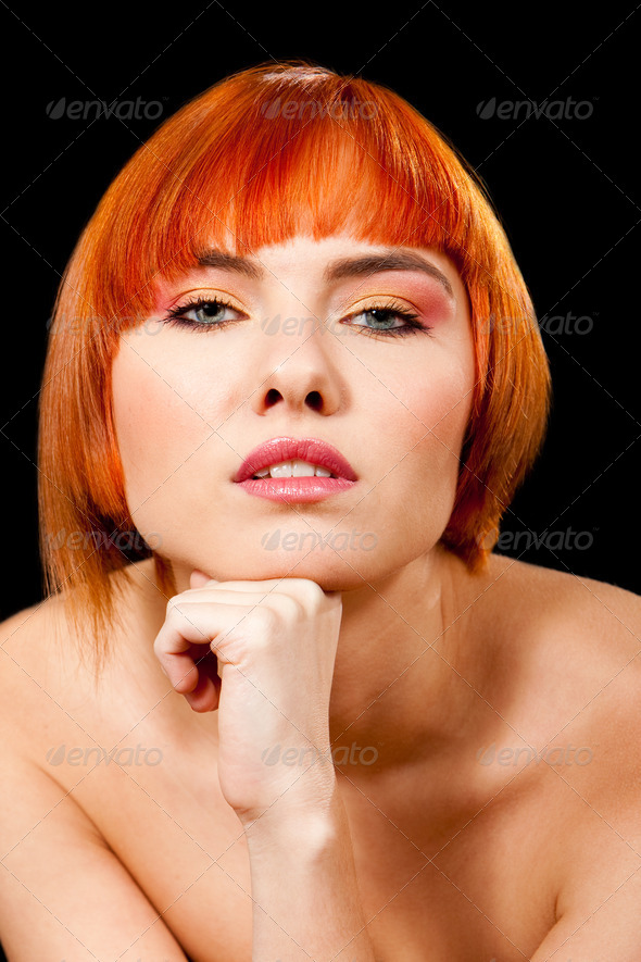 Beautiful redhead face - Stock Photo - Images