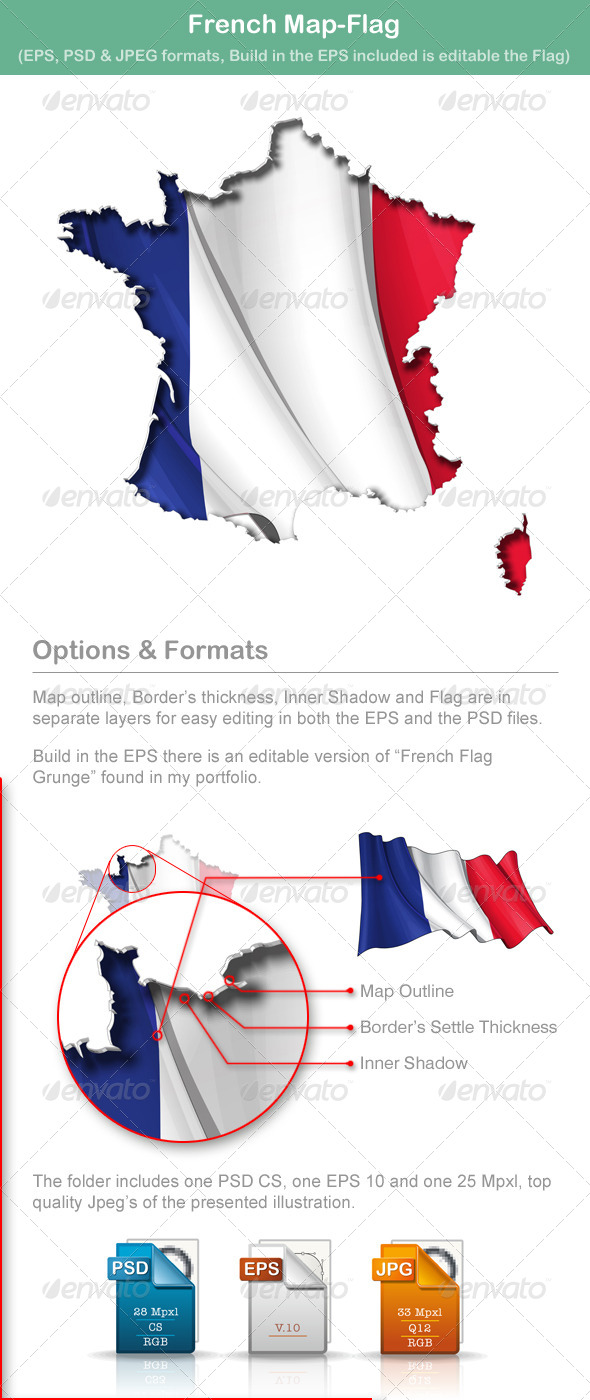 French Map-Flag - Travel Conceptual