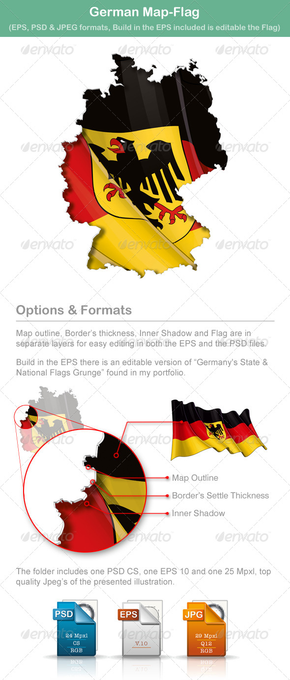 German Map-Flag - Travel Conceptual