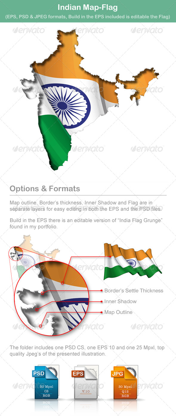 Indian Map-Flag - Travel Conceptual