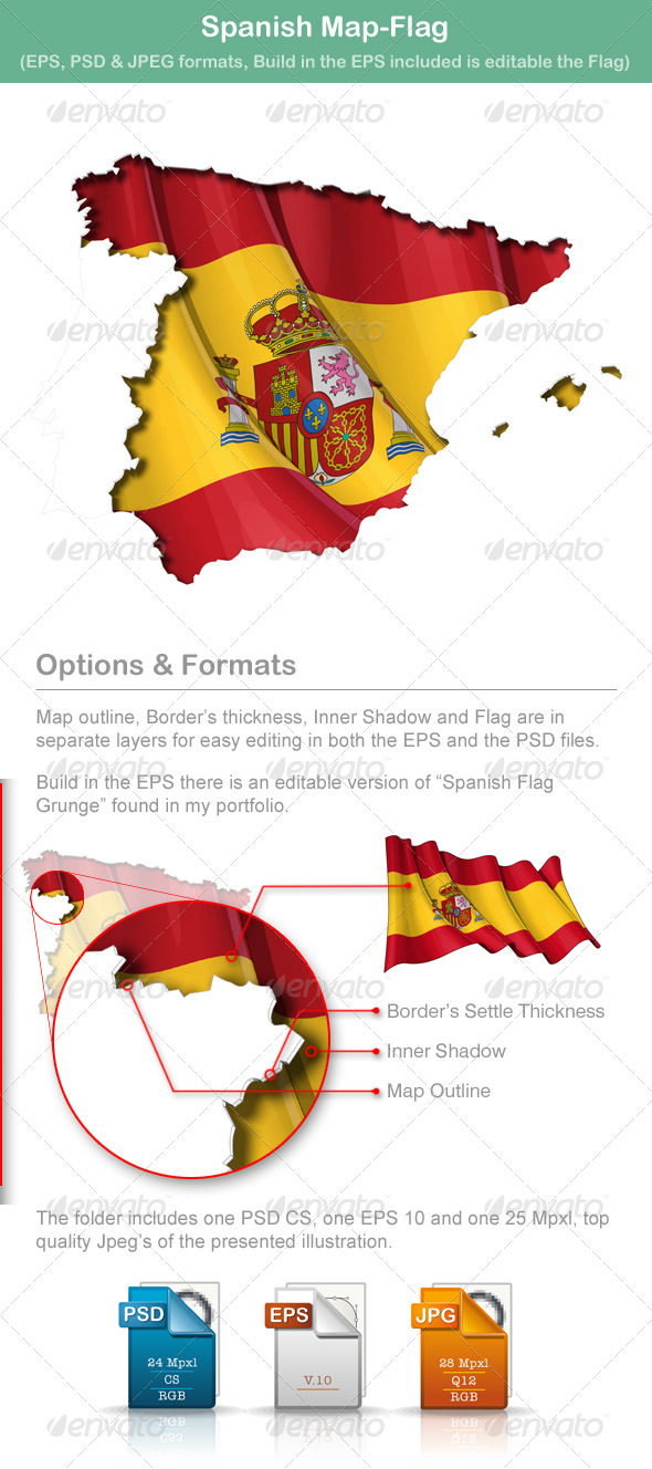 Spanish Map Flag - Travel Conceptual