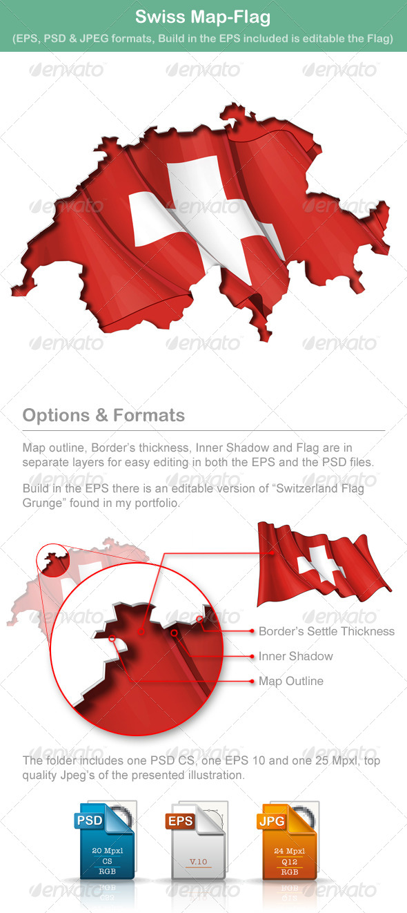 Swiss Map-Flag - Travel Conceptual