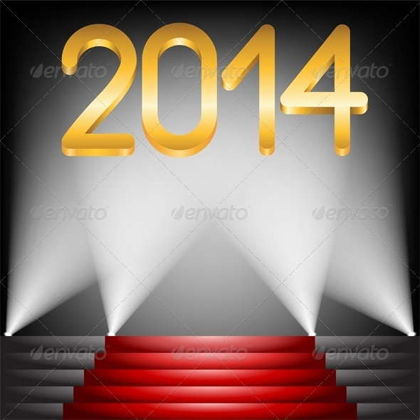 2014 Year Golden Figures on Red Carpet Stairs - New Year Seasons/Holidays