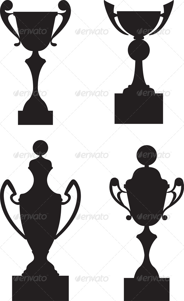 Trophy Cup Awards Black Silhouette Set - Man-made Objects Objects