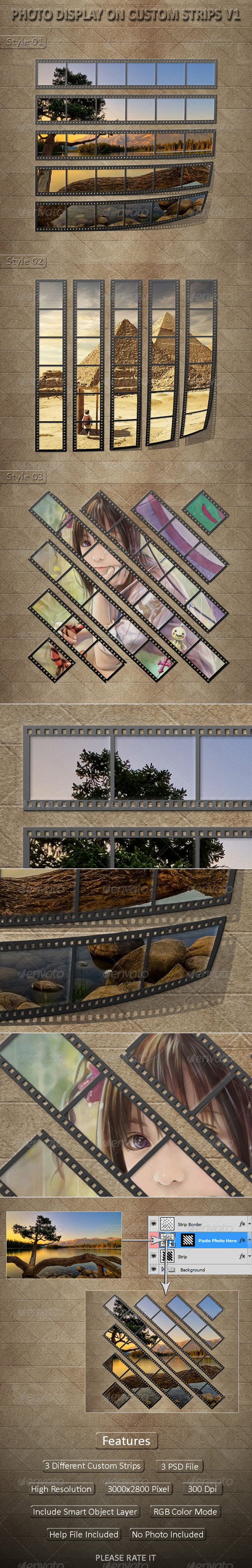Photo Display on Custom Strips V1 - Photo Templates Graphics
