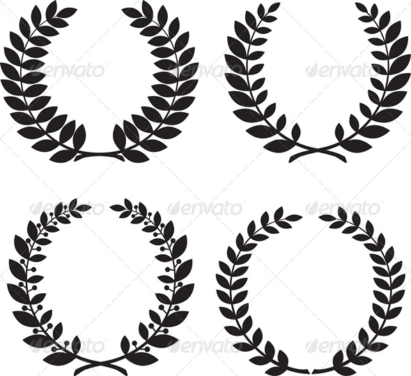 Set of Laurel Wreath Black Silhouettes - Man-made Objects Objects