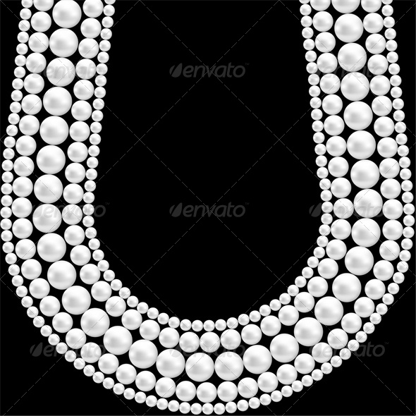 Black Background with Pearl Necklace  - Man-made Objects Objects