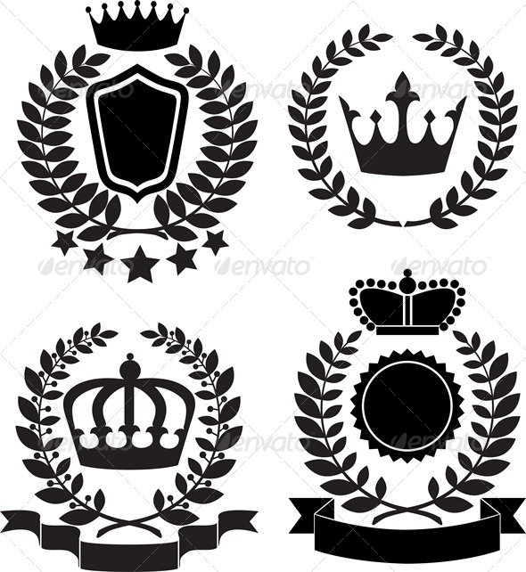 Black Silhouettes of Award Label with Crown - Man-made Objects Objects