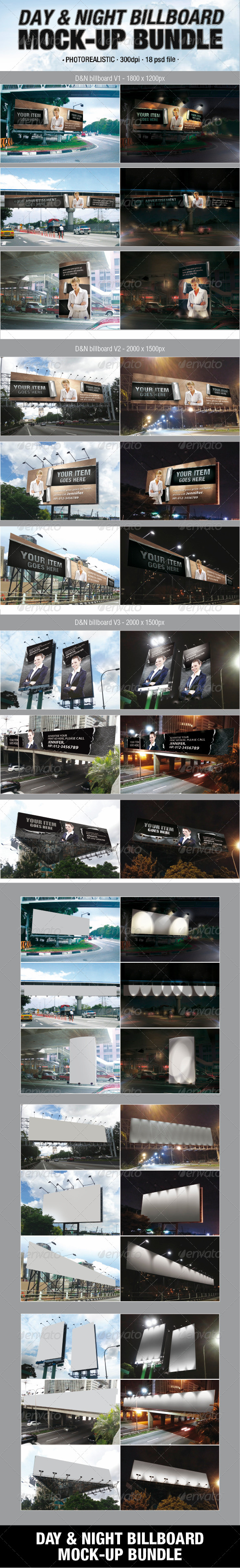 Day & Night Billboard Mock-Up Bundle - Signage Print