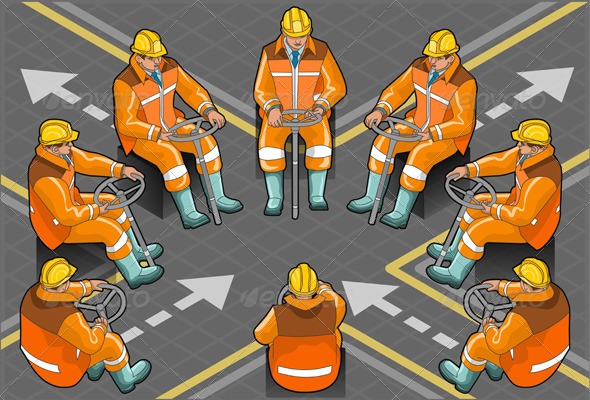 Isometric Shunter Man at Work in Eight Positions - People Characters