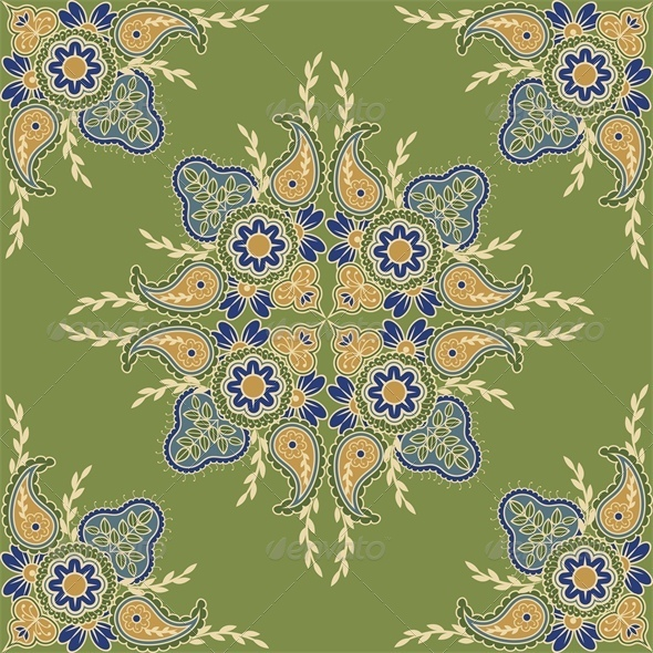 Ethnic Seamless Indian Floral Pattern - Backgrounds Decorative
