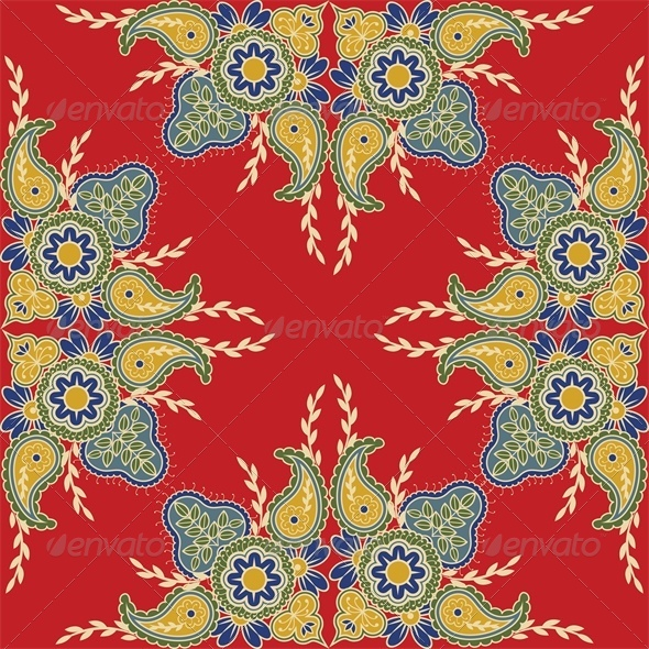 Seamless Red Background with Indian Floral Pattern - Backgrounds Decorative