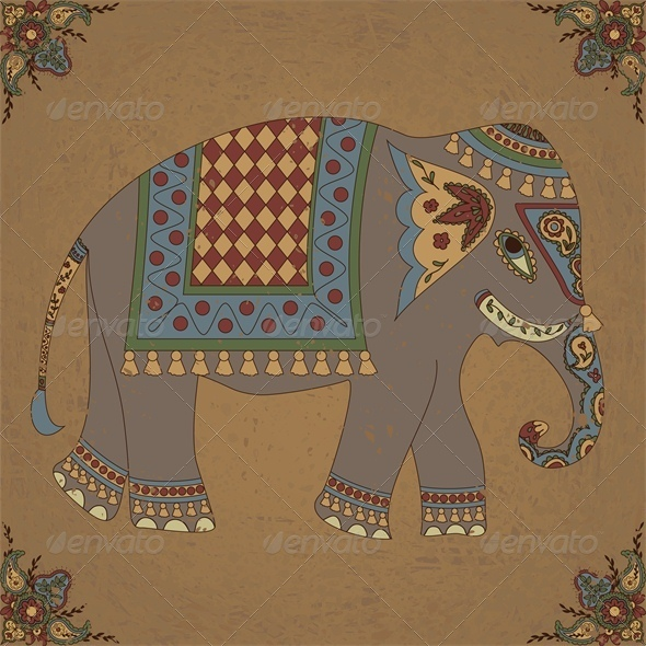 Vintage Background with Indian Elephant and Floral - Animals Characters