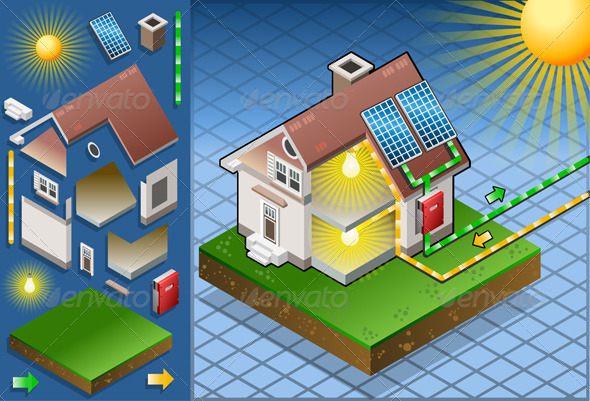 Isometric House with Solar Panel - Buildings Objects