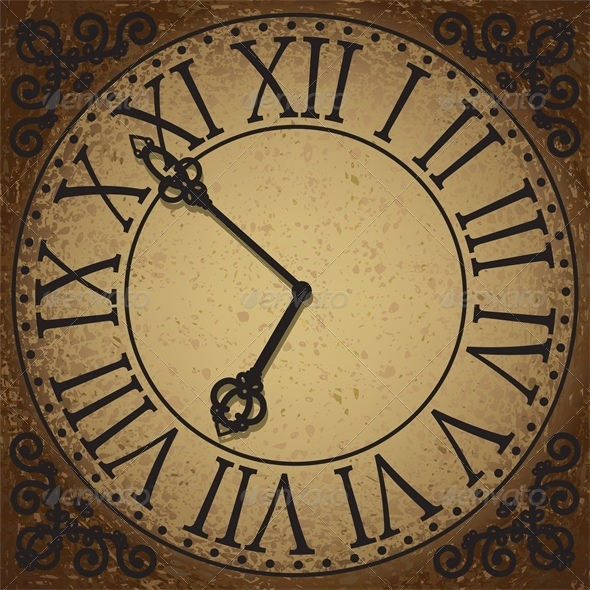 Vintage Background with Antique Clock Face - Man-made Objects Objects