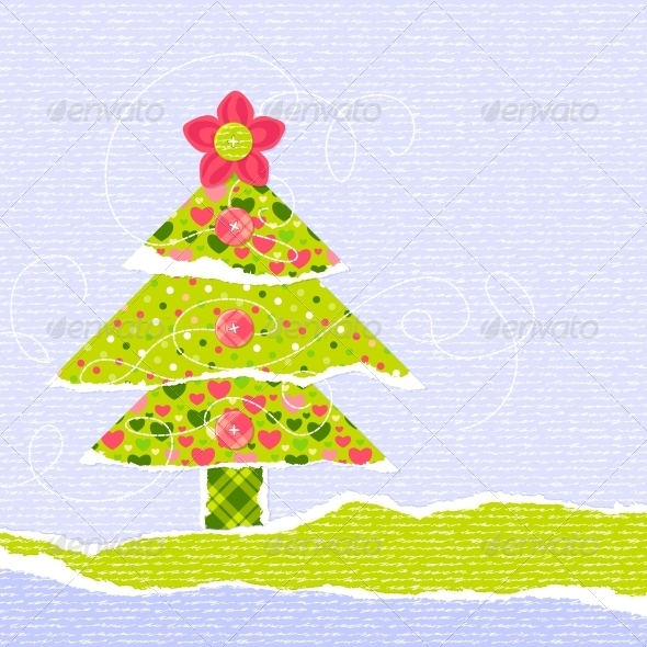 Stylish New Year or Christmas Scrapbooking Card - Backgrounds Decorative