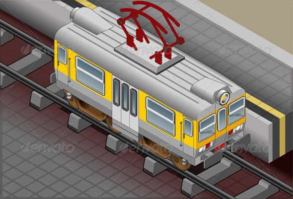 Isometric Electric Train  - Man-made Objects Objects