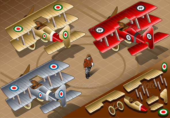 Isometric Old Vintage Biplanes in Rear View - Man-made Objects Objects