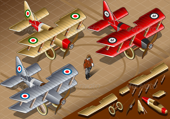 Isometric Old Vintage Biplanes in Front View - Man-made Objects Objects
