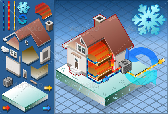 Isometric House with Conditioner Heat Production - Buildings Objects