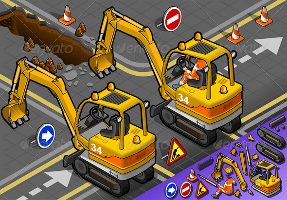 Isometric Mini Excavator with Man at Work - Man-made Objects Objects