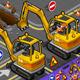 Isometric Mini Excavator with Man at Work
