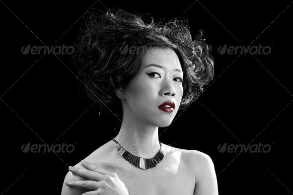 Asian woman with red lips - Stock Photo - Images