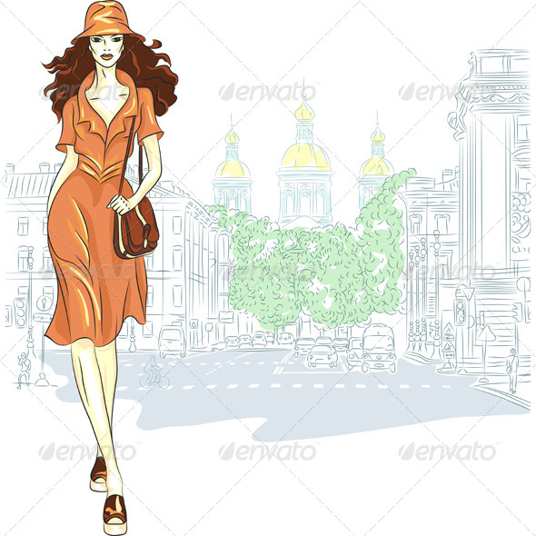 Vector Lovely Fashion Girl goes for St. Petersburg - People Characters