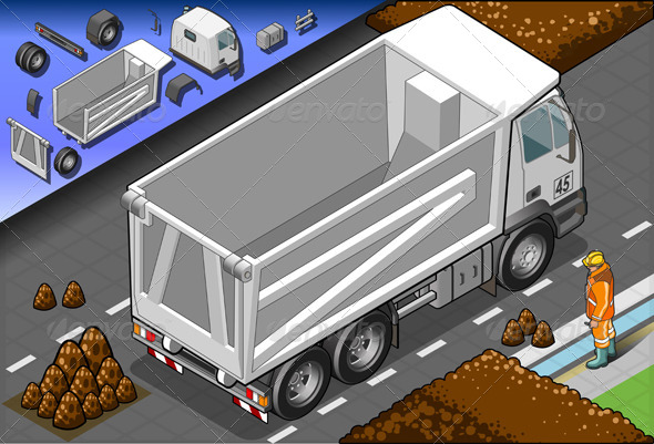 Isometric Empty Container Truck in Rear View - Man-made Objects Objects
