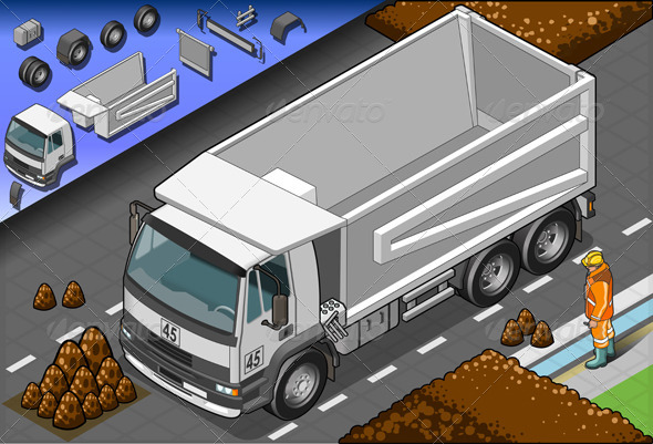 Isometric Empty Container Truck in Front View - Man-made Objects Objects
