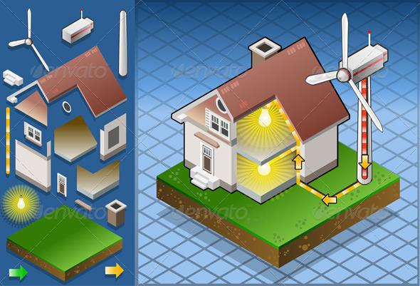 Isometric House with Aeolic Turbine - Buildings Objects