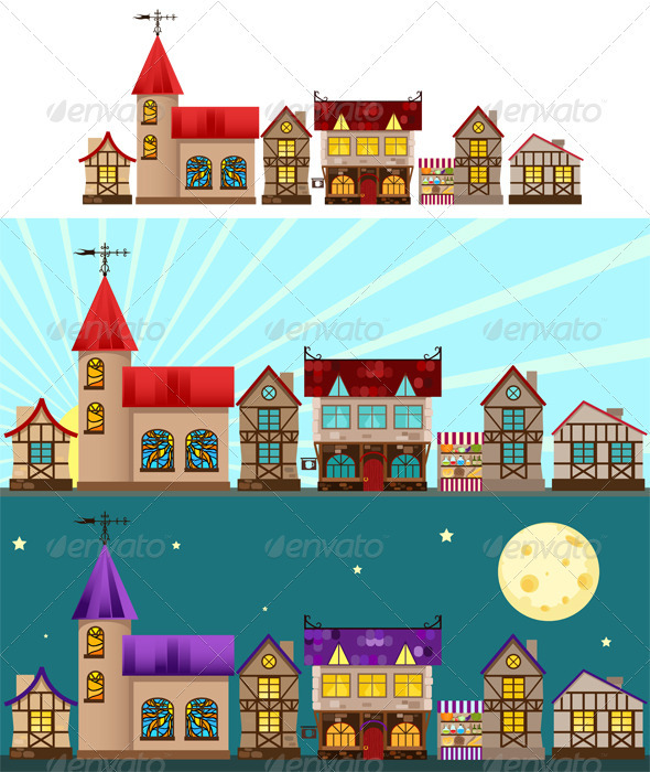 Medieval houses, church, tavern and shop - Buildings Objects