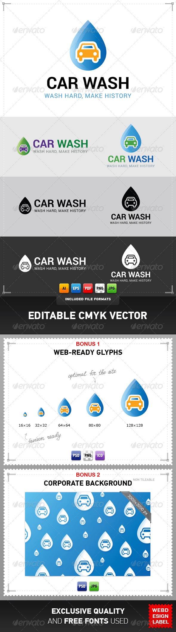 Car Wash Logo - Symbols Logo Templates