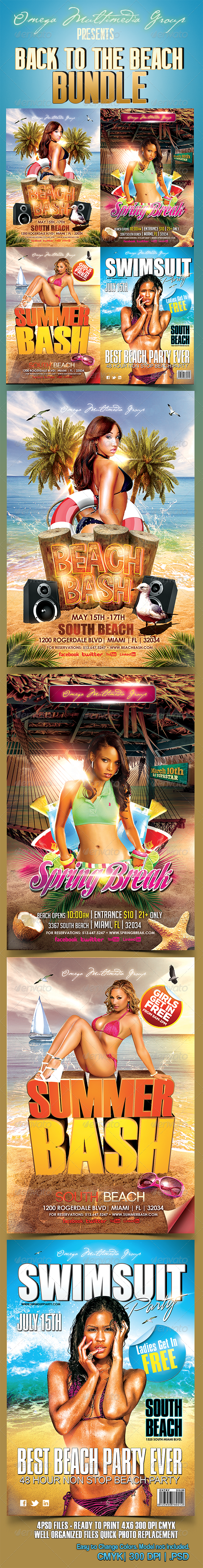 Back To The Beach Bundle - Events Flyers