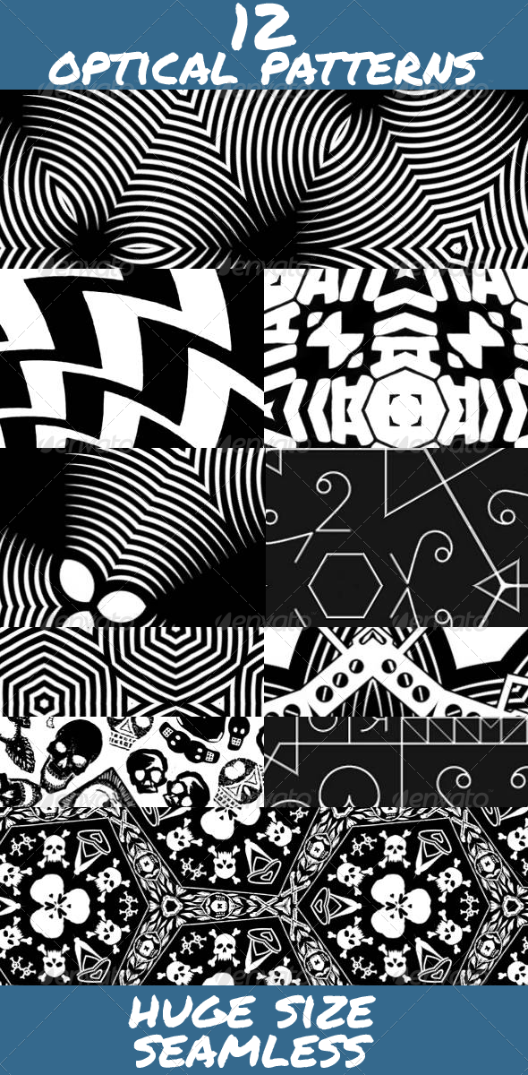 Black and White Optical Patterns - Techno / Futuristic Textures / Fills / Patterns