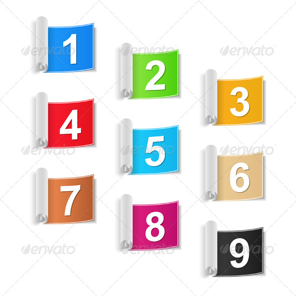 Numbers Set - Web Elements Vectors
