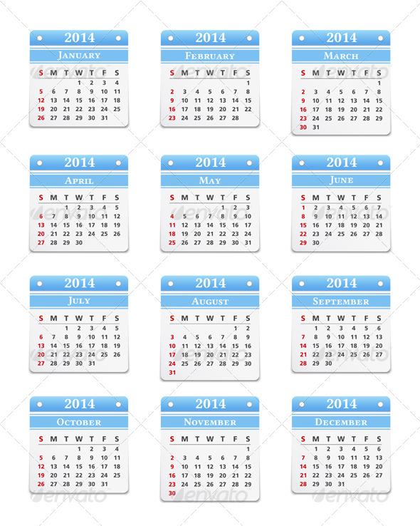 2014 Calendar - Miscellaneous Vectors