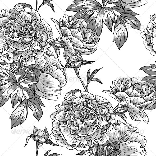 Monochrome Floral Pattern - Backgrounds Decorative