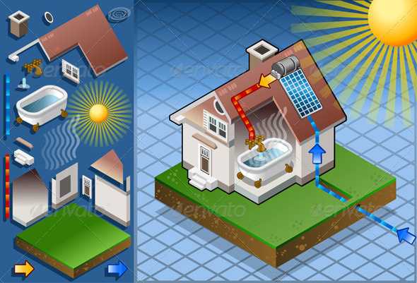 Isometric Solar Panel in Hot Water Production - Buildings Objects