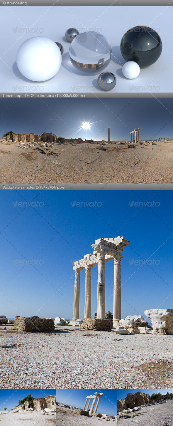 HDRI spherical panorama -0933- sunny Apollo Temple - 3DOcean Item for Sale