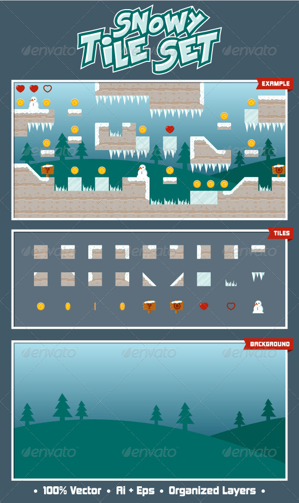 Snowy Game Tile Set - Tilesets Game Assets